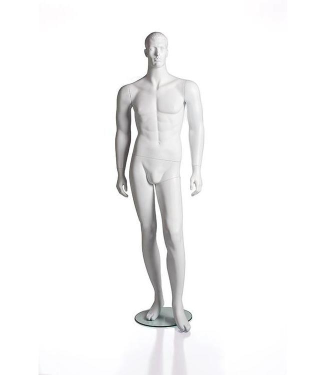 Male mannequin with face and molded hair, white fiberglass