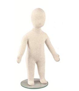 """Mannequin enfant flexible tissus blanc/gris 3-6 mois (21""""H)"""