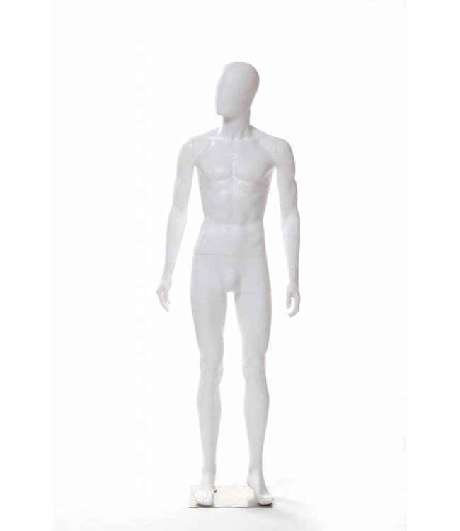 Mannequin homme en plastique blanc mat, tête d'œuf