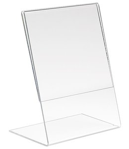 "L shape sign holder 5.5"" x 7""H vertical , acrylic"