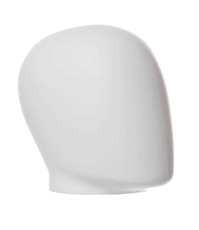 """Tête d'oeuf homme sans cou 8.5""""H, plastique moulé blanc mat"""