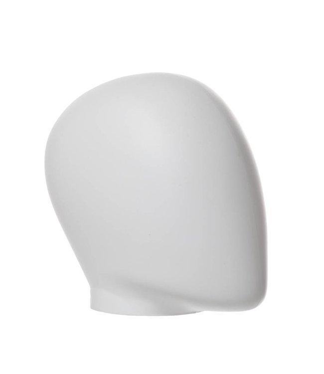 "Female's egg head no neck 8""H, matte white molded plastic"