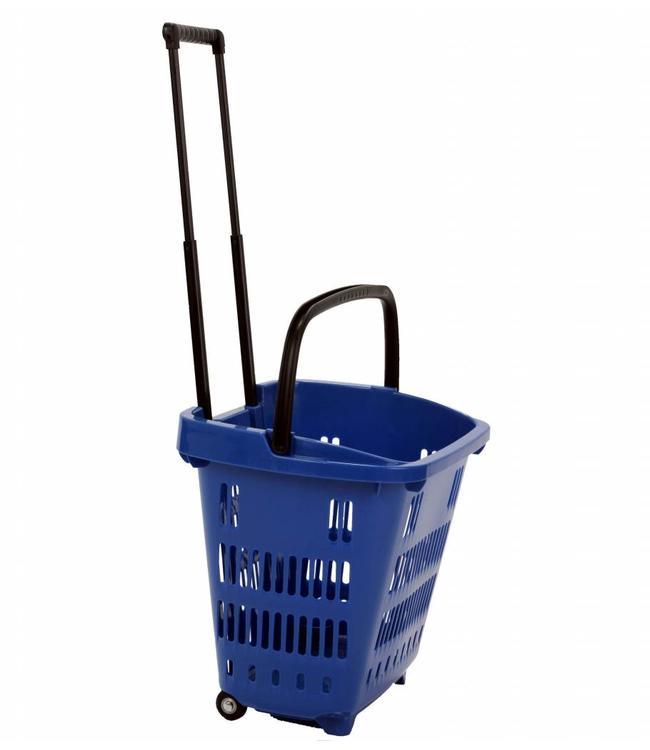 """Panier de magasinage 34 litres en plastique sur roues 18-1/8""""x 13-5/8""""x 15-3/4""""H , poignée extensible"""