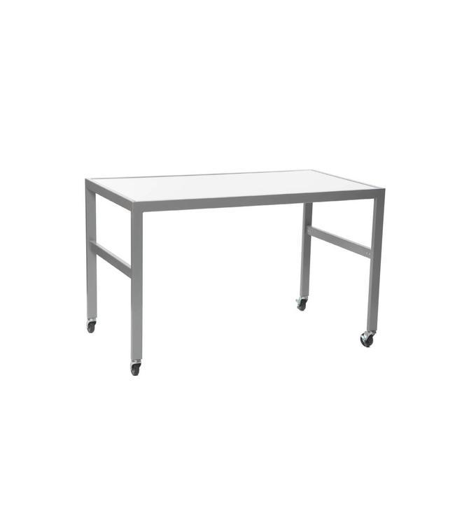 """Grande table de présentation 54""""x30""""x33""""H dessus de mélamine blanc"""