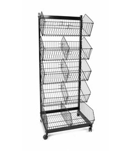 "5 levels baskets on wheels  23""x18""x57.5""H, black or white"