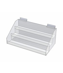 "3 level display 15""L x 8""P x 6""H, counter/slatwall"