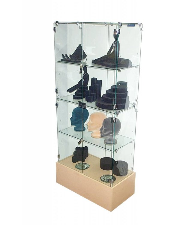Tempered glass vitrine verticale