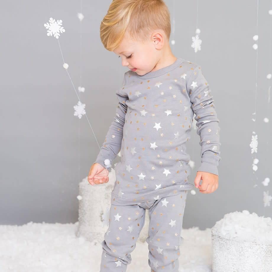 Skylar Luna Grey Stars Long Sleeve Pajamas