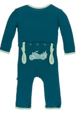 Kickee Pants Kickee Pants Applique Coverall w/zipper 0-3M