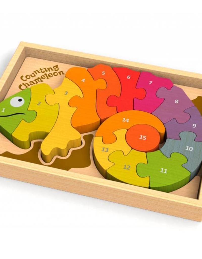 BeginAgain Counting Chameleon Bilingual Puzzle