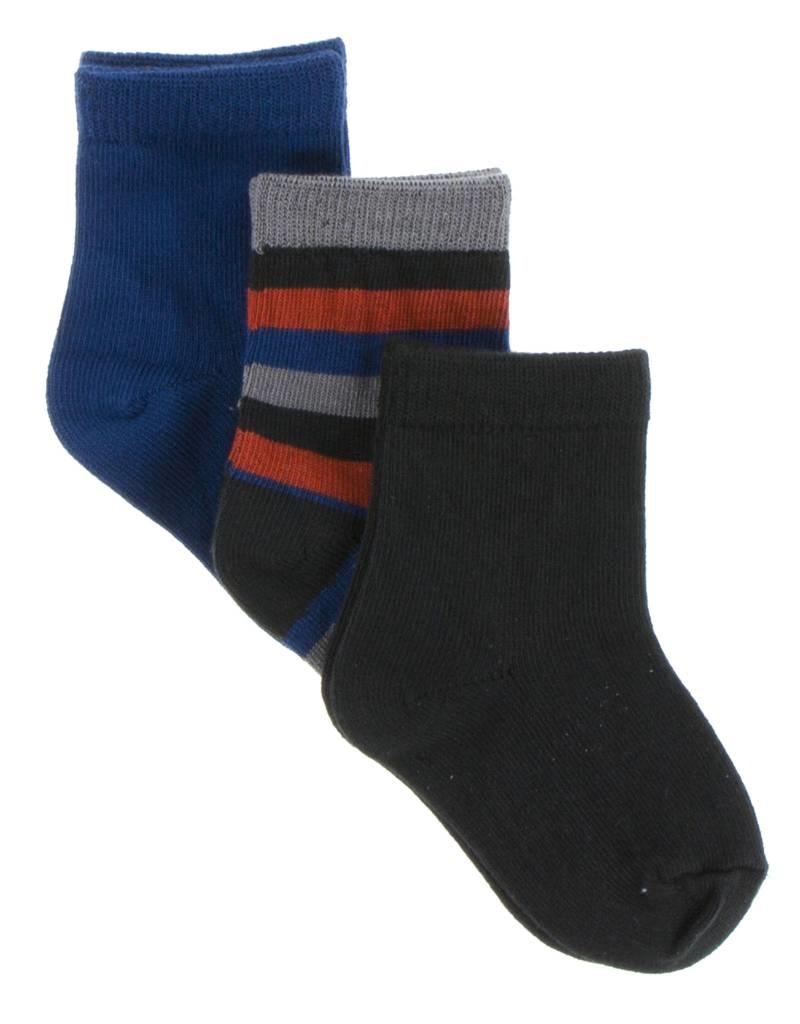 Kickee Pants Socks Navy, Dark London Stripe and Zebra