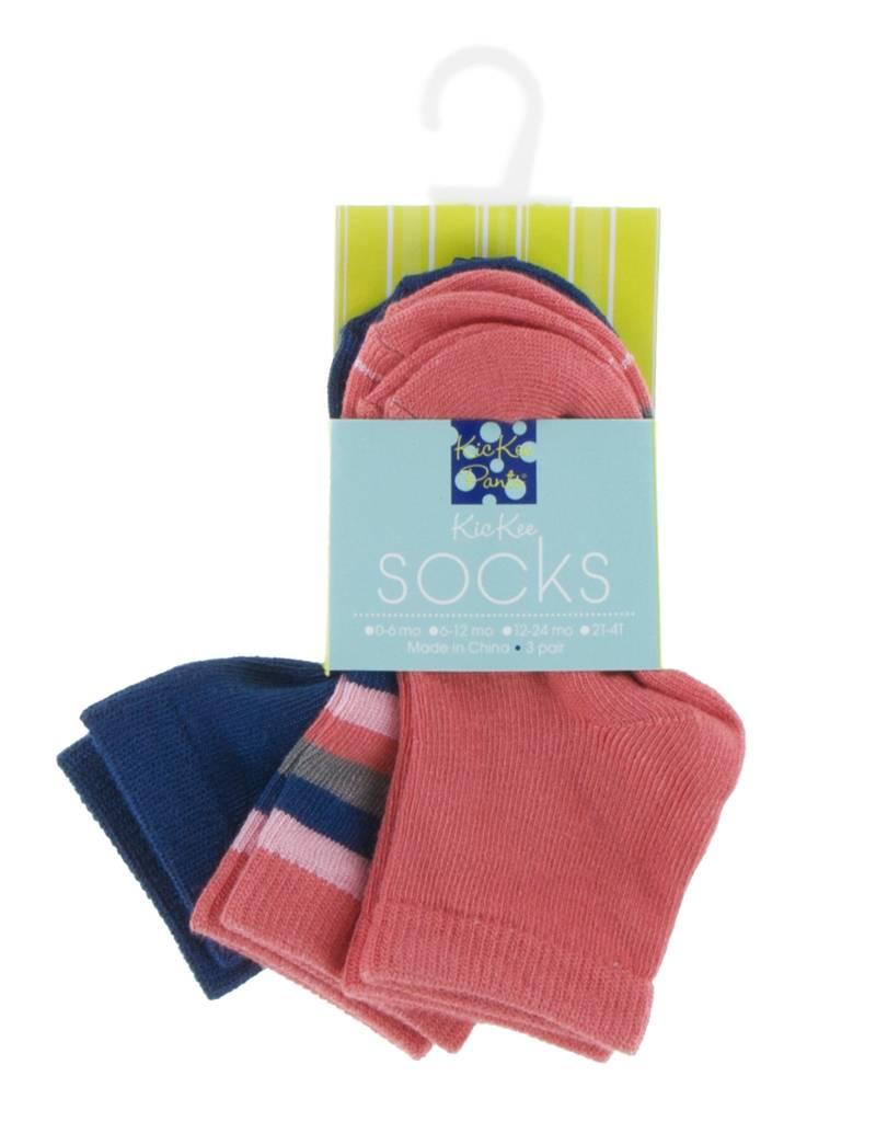 Kickee Pants Socks Navy, Bright London Stripe and English Rose