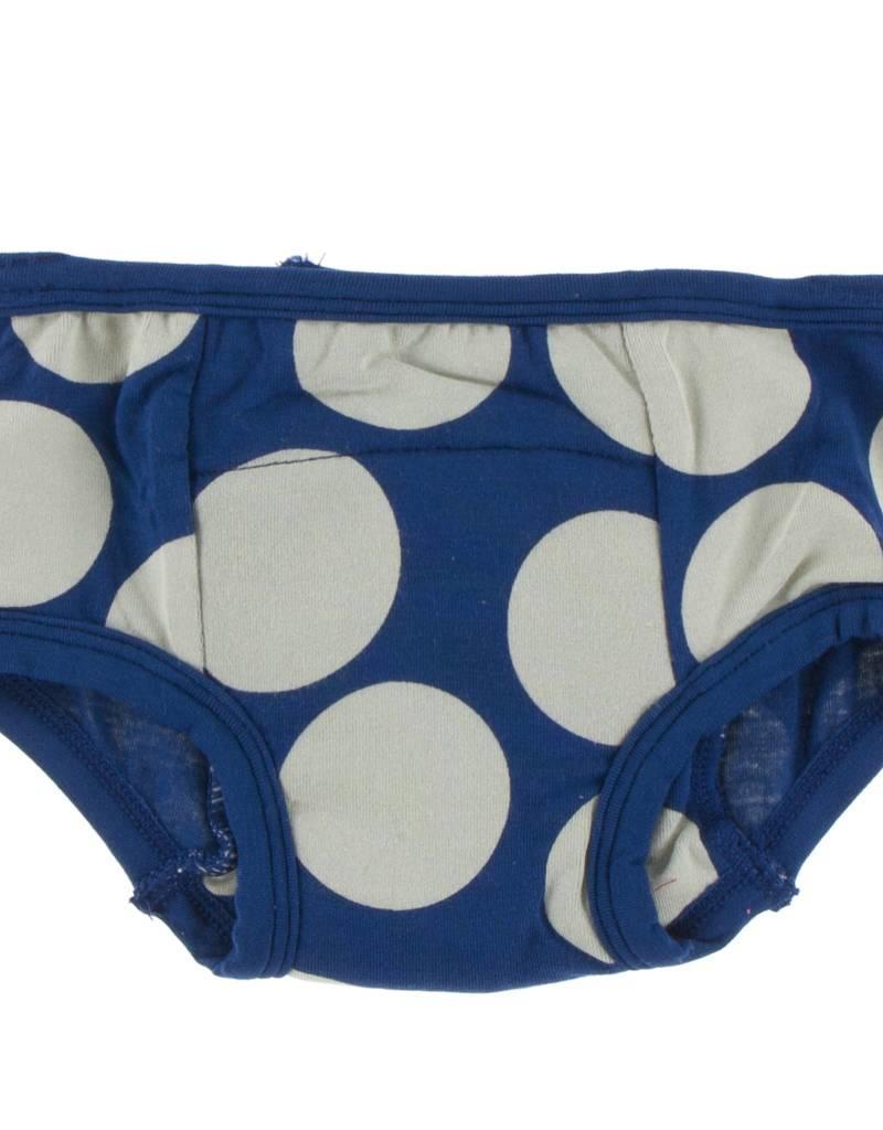 Kickee Pants Training Pants Set in Navy Queen's Swans & Navy Mod Dot