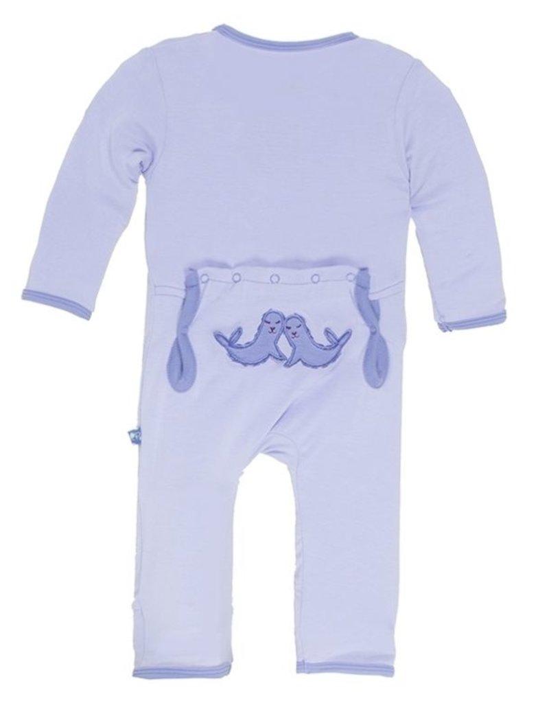 Kickee Pants Kickee Pants Applique Coverall Lilac Seals