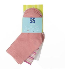 Kickee Pants Socks Natural, Girl Forest Stripe, & Blush