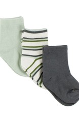 Kickee Pants Bamboo Socks Aloe, Boy Freshwater Stripe & Stone