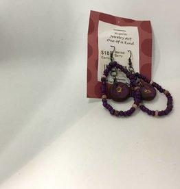 M&M Jewlery M&M Earring 18 Purple Flower Hoops