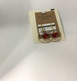 M&M Jewlery M&M Earring 18 Red Saturn