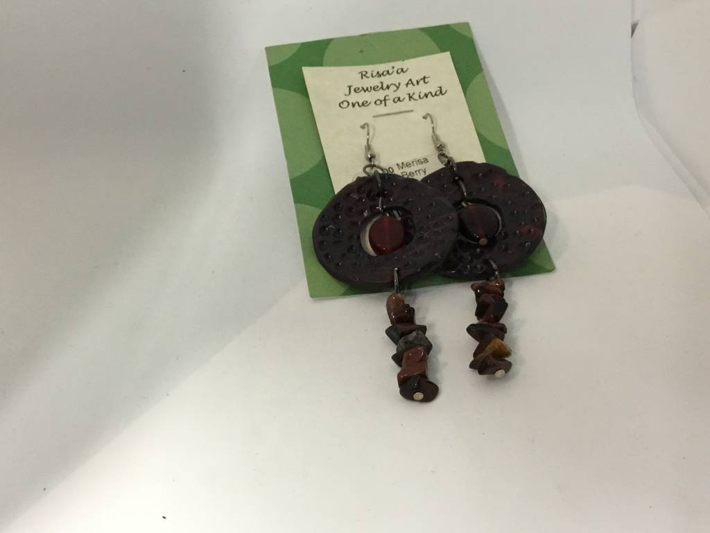 M&M Jewlery M&M Earring 18 Disks and Stones