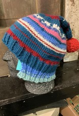 Nanette cemetery knits many colored hat with ball
