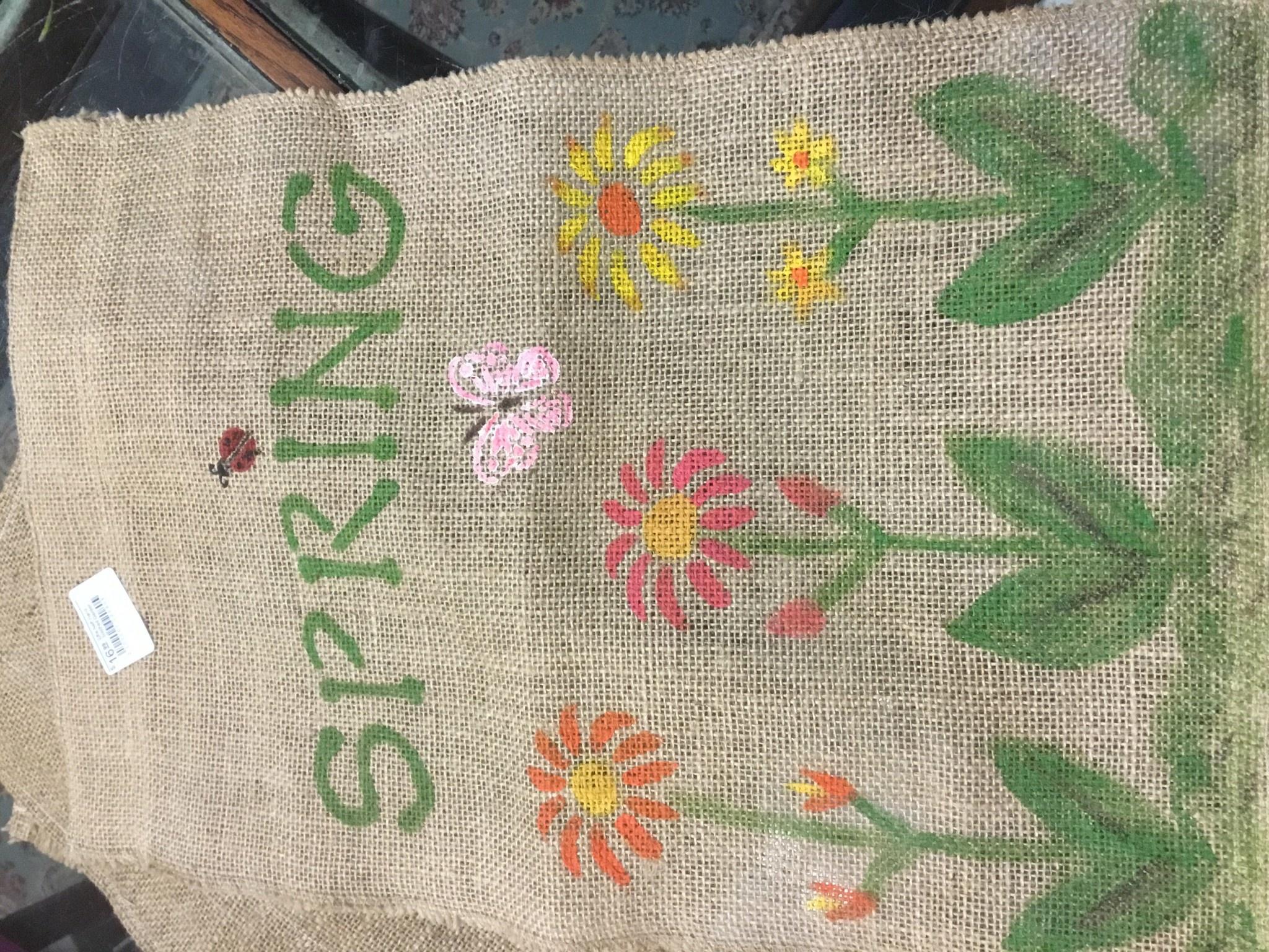 Effie Neff  Hand Stitched Garden Flag Burlap