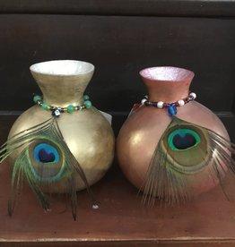 Maggi Rhudy Maggi Gourd Pot W/Feathers