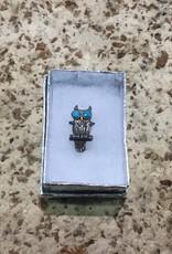 Tyler Elliott Sterling & turquoise owl pin