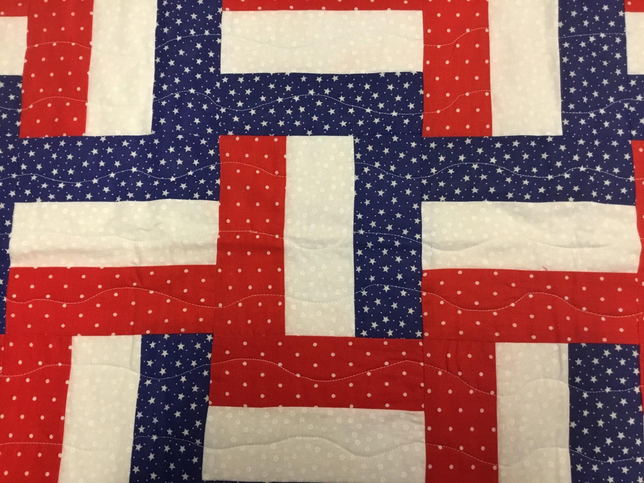Effie Neff Hand Stitched Patriotic Table Runner
