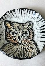 "Nanette small round dish - brown owl head 3.5"""
