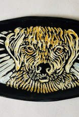 Nanette small oval dish - Yellow lab dog, color 7.5x 3.5""