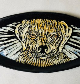 """Nanette small oval dish - Yellow lab dog, color 7.5x 3.5"""""""