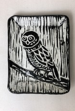 """Nanette Small Rectangle Dish - one owl, branch 3.5x4.5"""""""