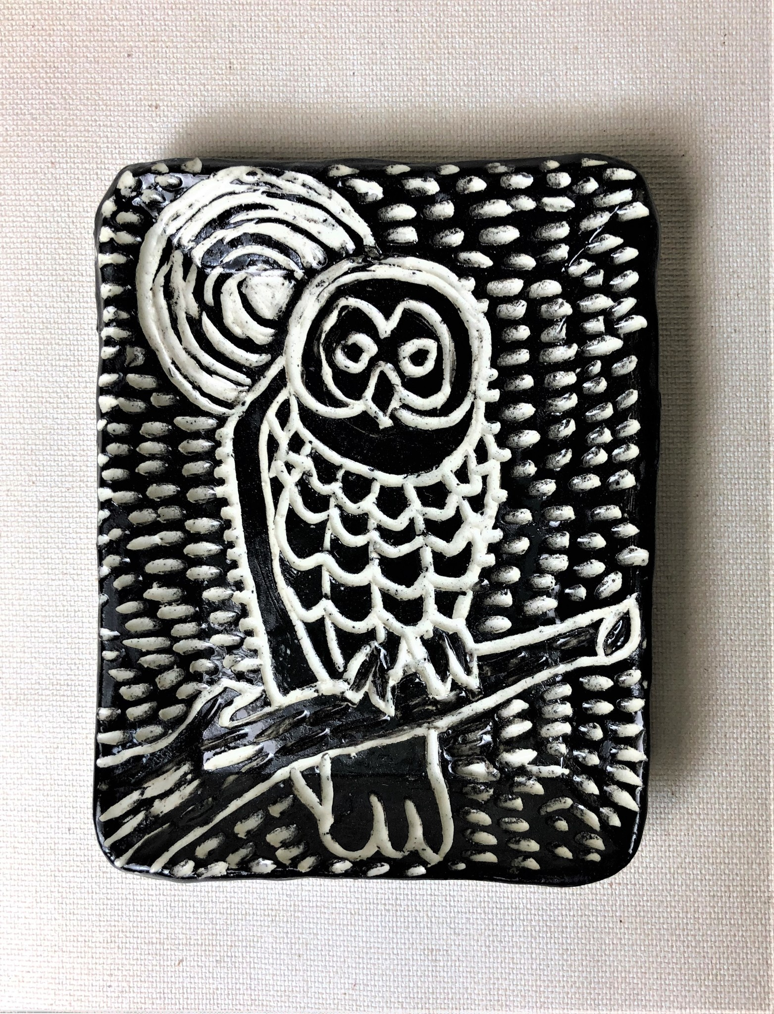 """Nanette Small Rectangle Dish - one owl, branch, moon 3.5x4.5"""""""