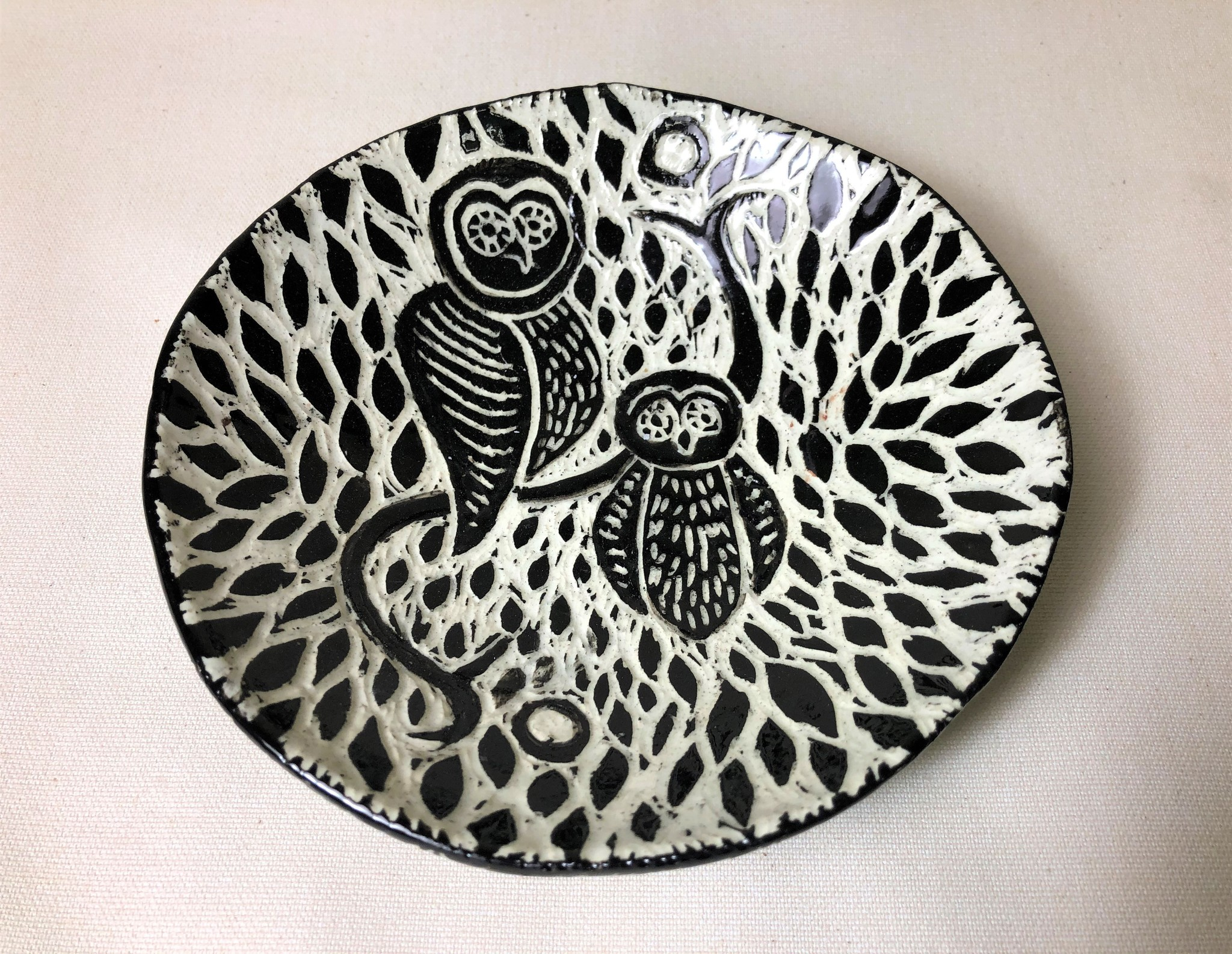 """Nanette Round Bowl - two owls on a branch 6.5"""""""