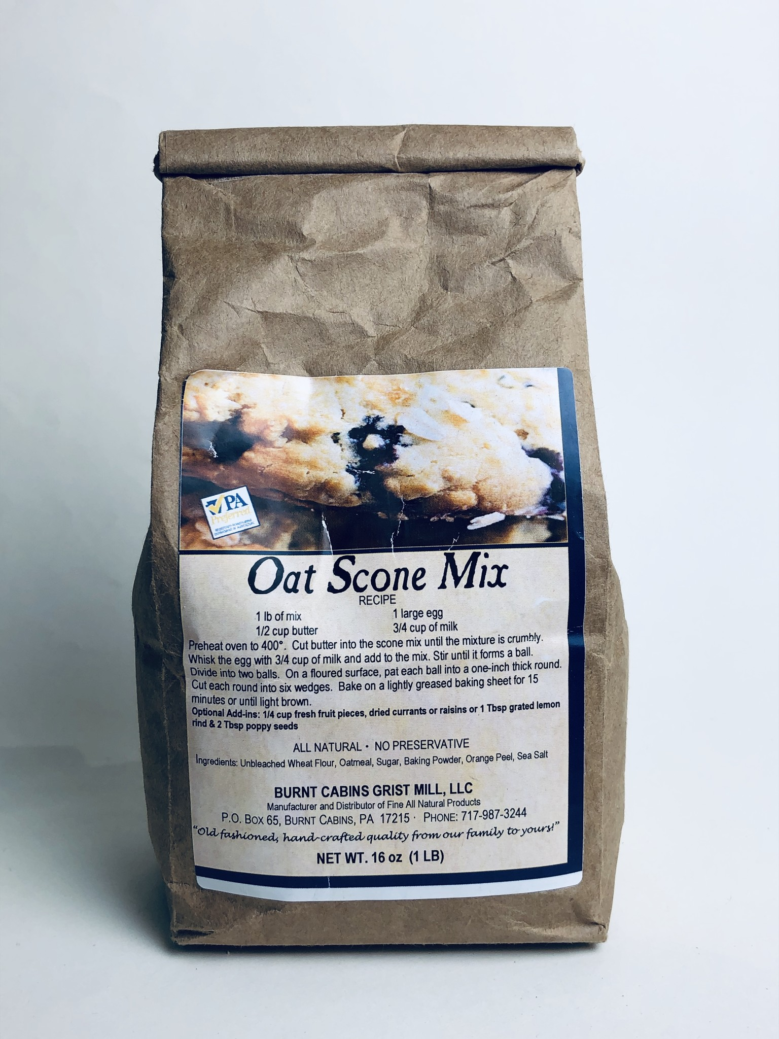 Burnt Cabins Grist Mill - Oat Scone Mix 1 lb.