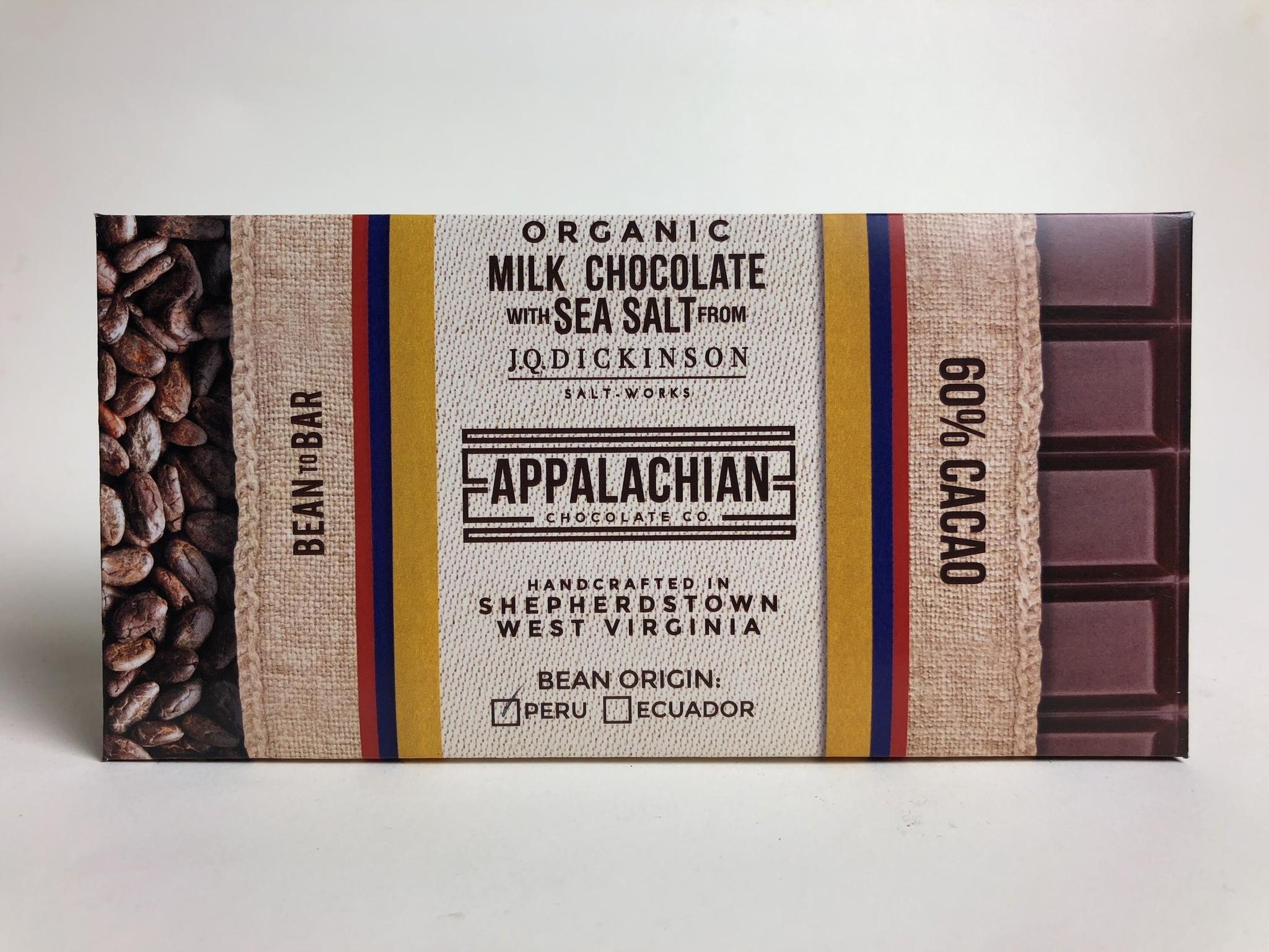 Appalachian Chocolate Milk Chocolate W/Sea Salt Bar 60%