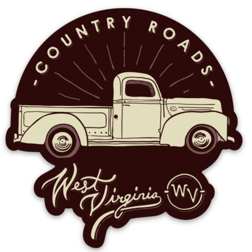Loving WV Country Roads Truck Sticker