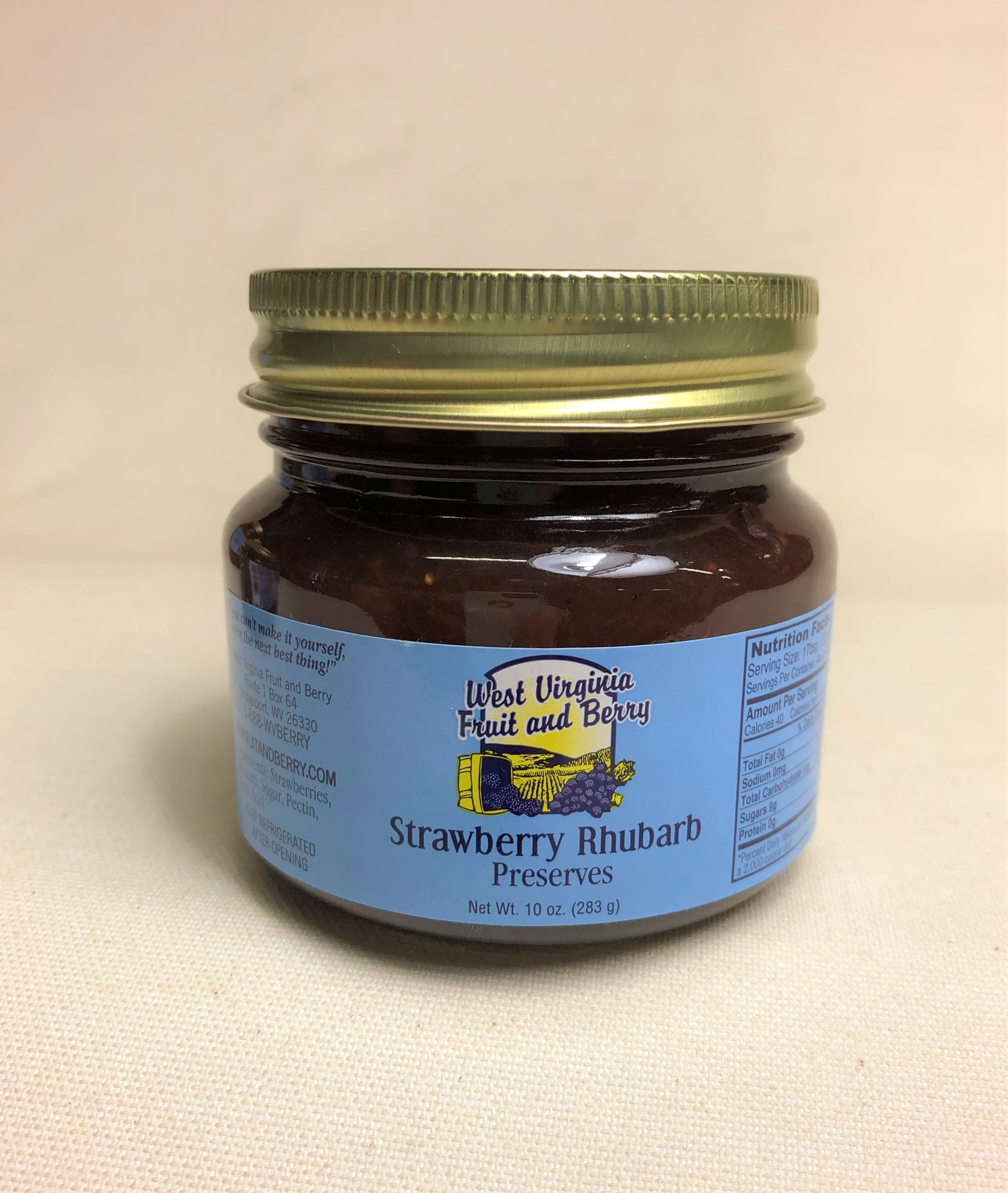 West Virginia Fruit and Berry WVF&B 10 oz. Strawberry Rhubarb Preserves