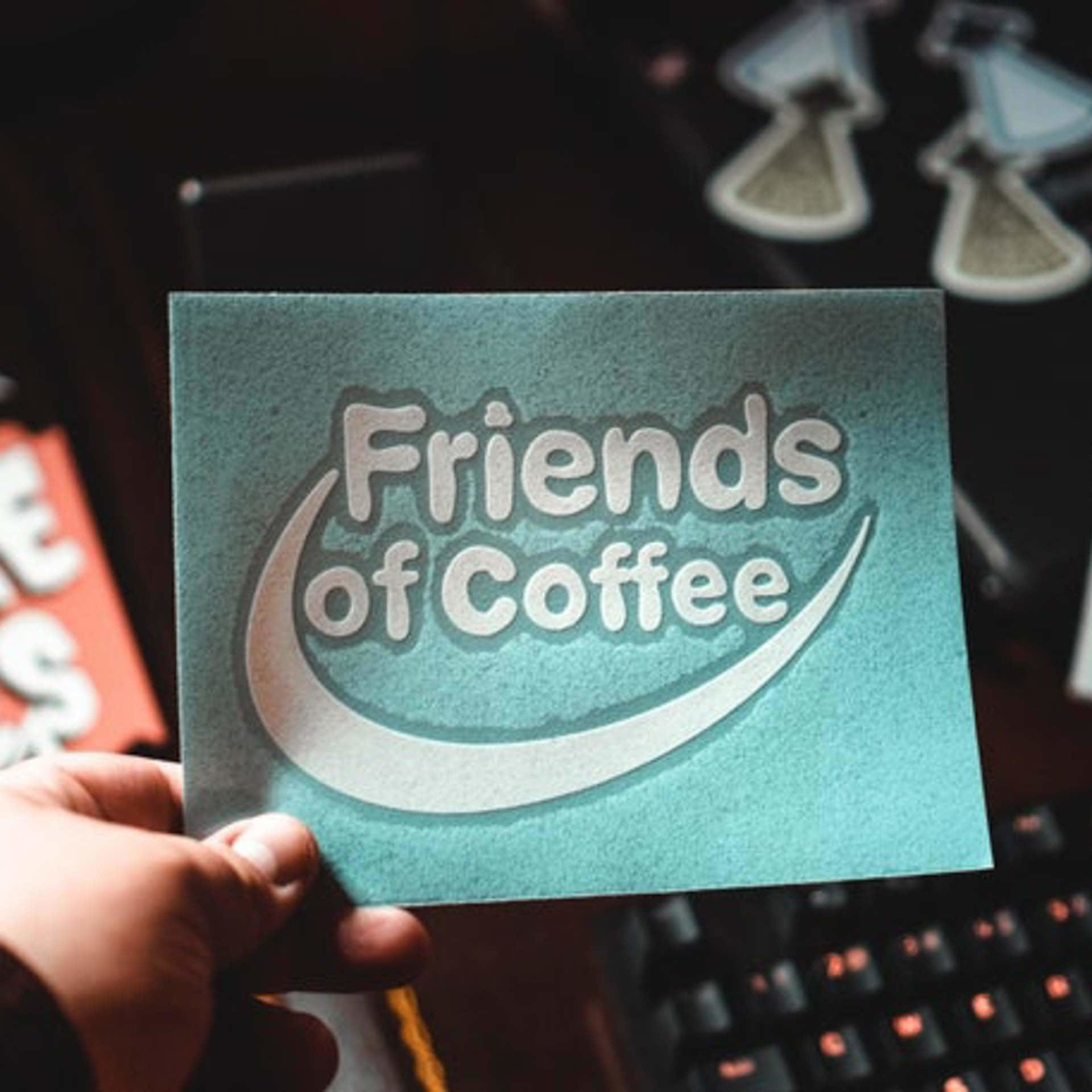 "Wonderfully Weird Designs Friends of Coffee - 5"" Decal"
