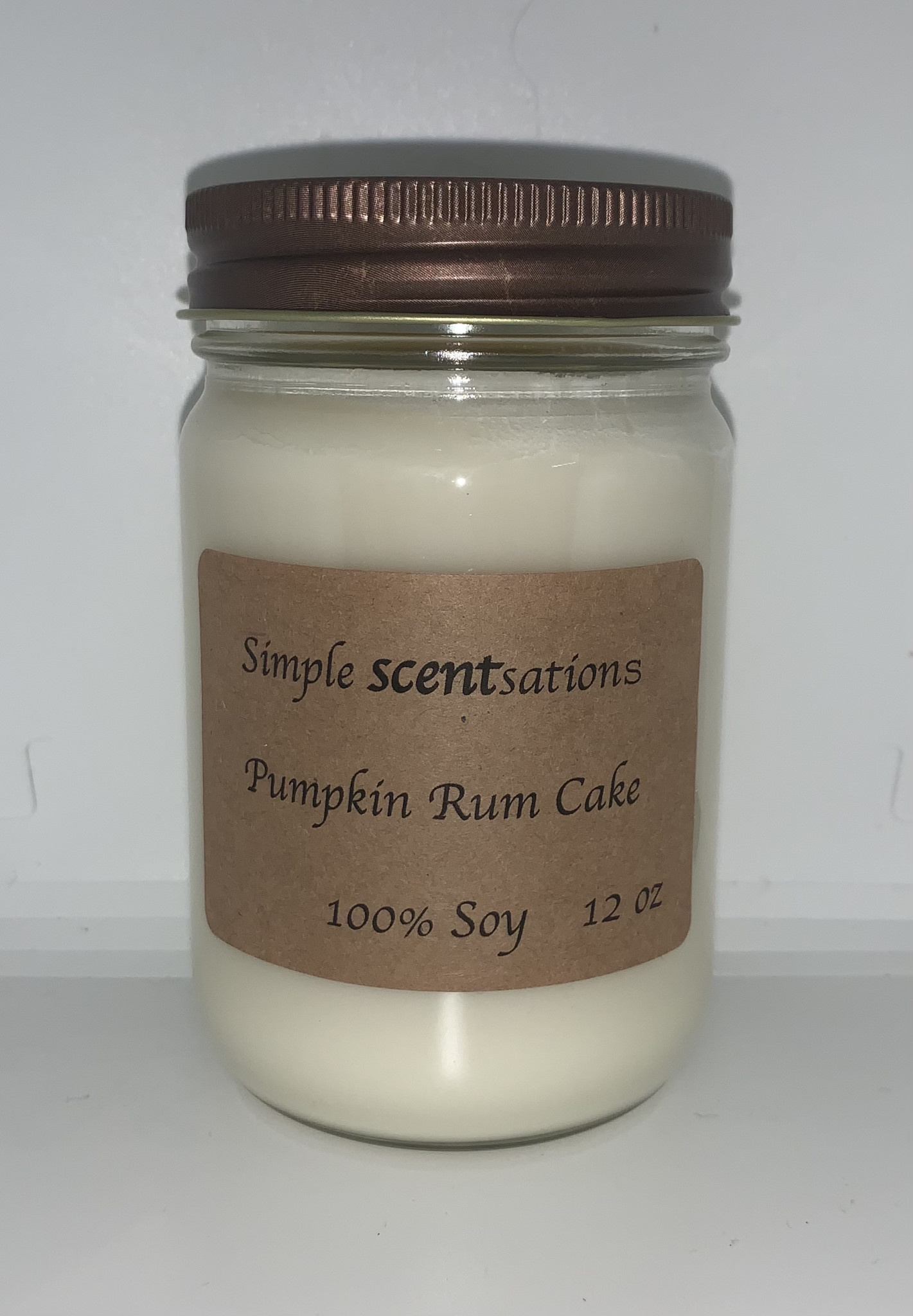 Simple Scentsation Pumpkin Rum Cake 12 oz Soy Candle