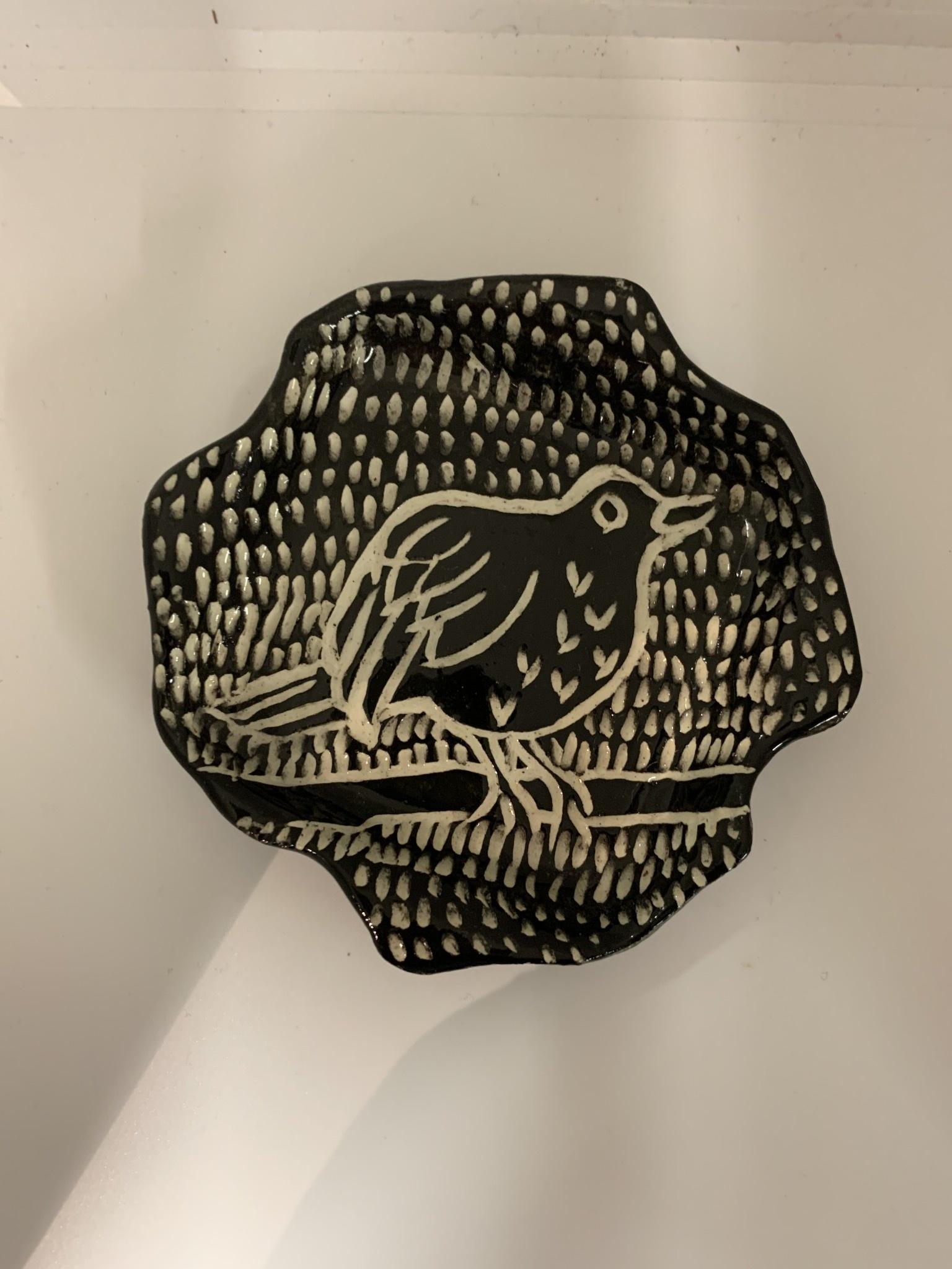 Nanette Wavy Rectangle Dish  (Stylized) Bird on Branch