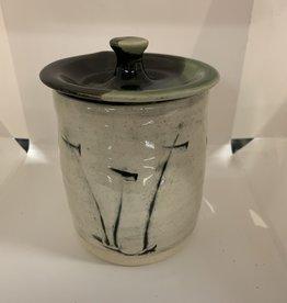 JoJo Pottery Lidded Jar Clear/Black/Green