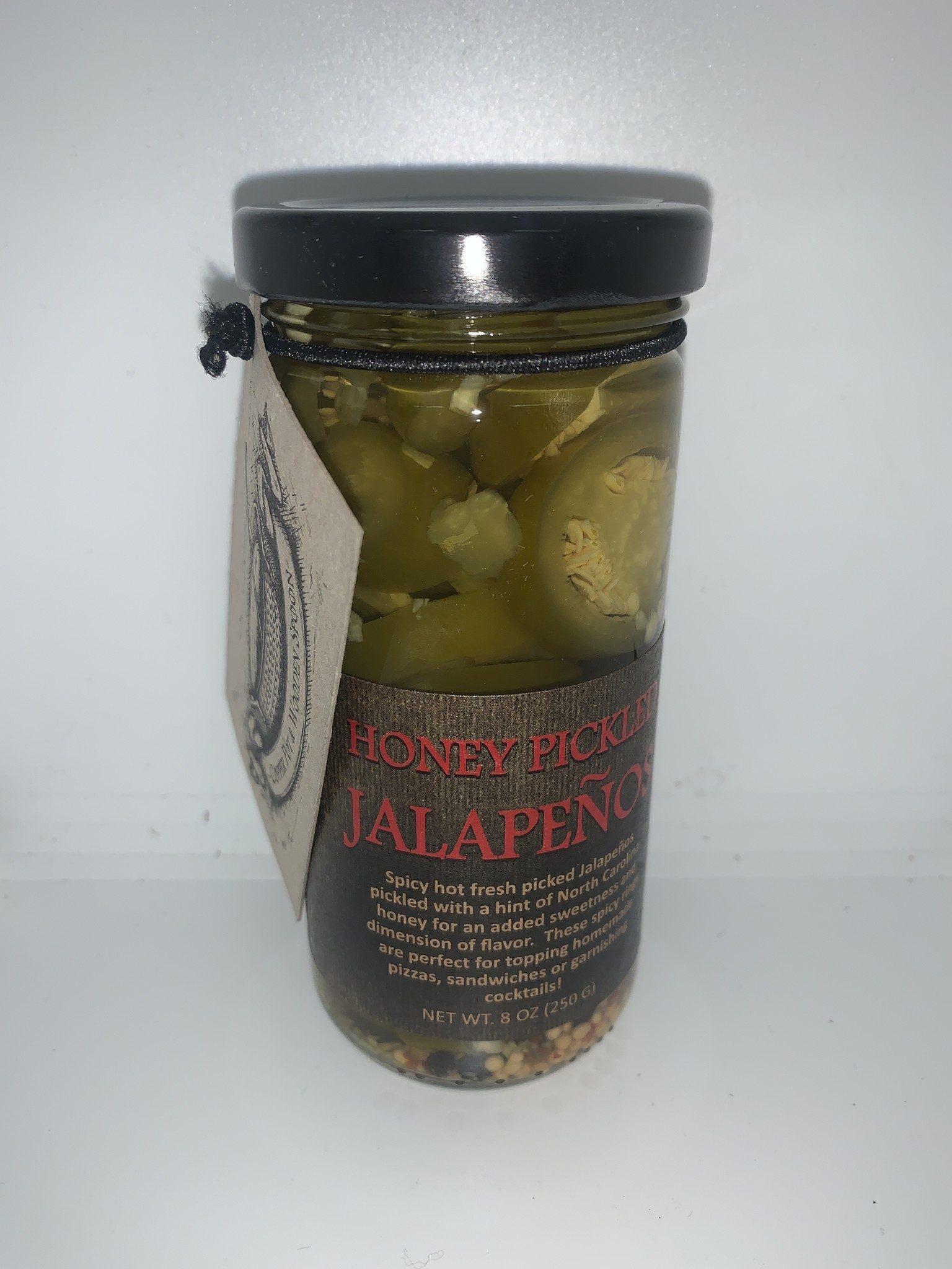 Copper Pot  & Wooden Spoon Honey Pickled Jalapeños