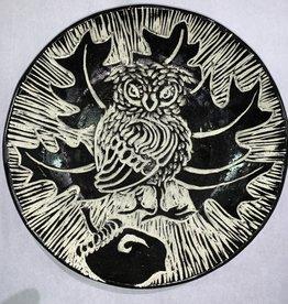 Nanette Large Bowl -Owl on Acorn, Oak leaves Thrown Rim
