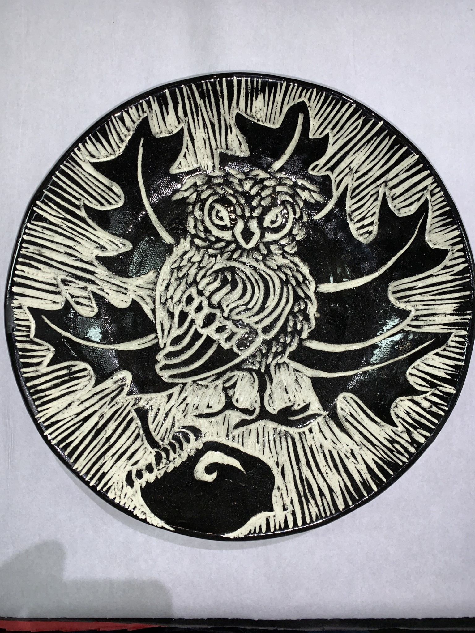 Nanette Large Bowl -Owl on Acorn, Oak leaves Thrown Rim