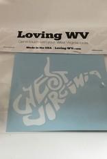 Loving WV WV Doodle White Decal