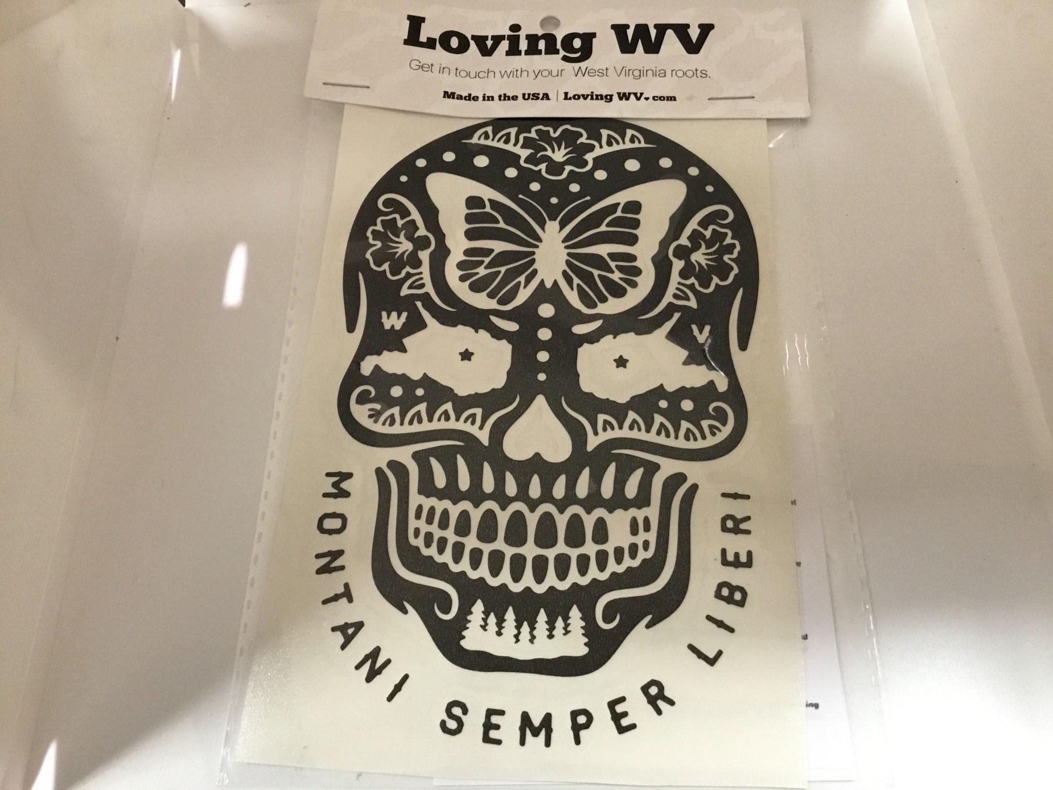 Loving WV WV Sugar Skull Decal