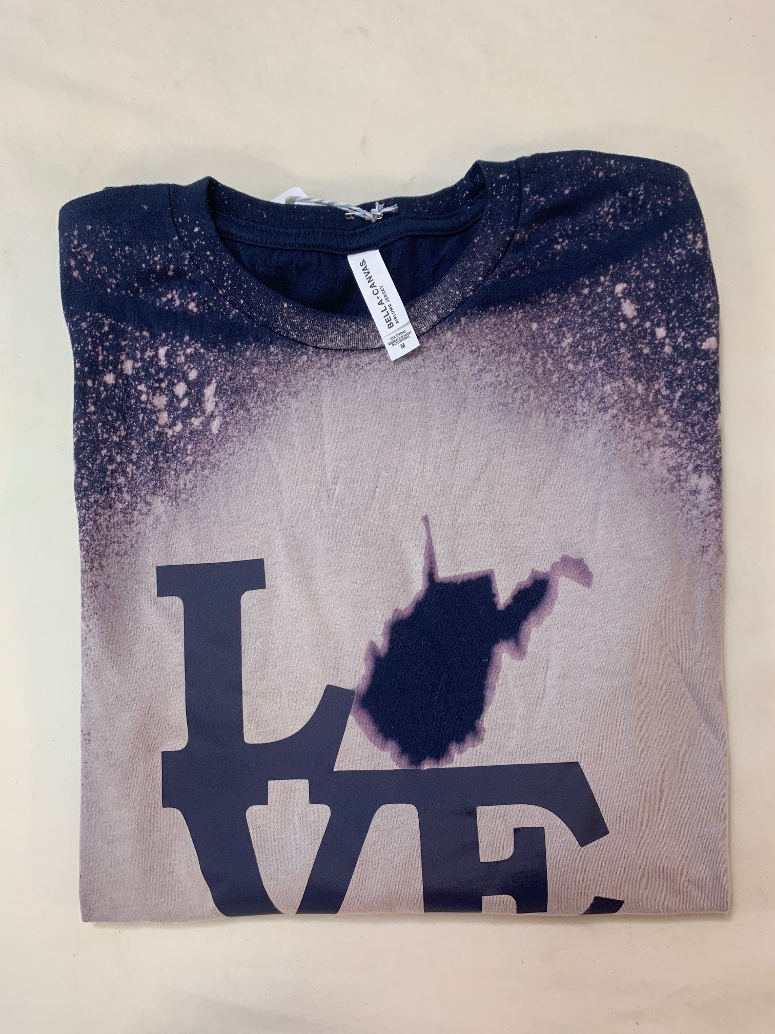 Positive-a-tees Positive-a-tees L(state)VE, Navy Bleach LS Lg