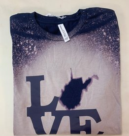 Positive-a-tees Positive-a-tees L(state)VE, Navy Bleach LS Md
