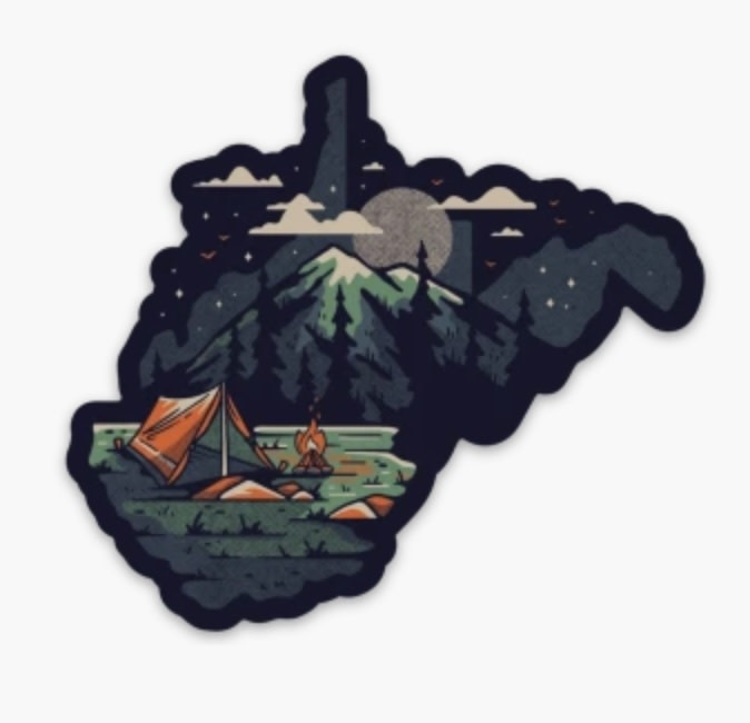 Loving WV WV Tent Camping Sticker